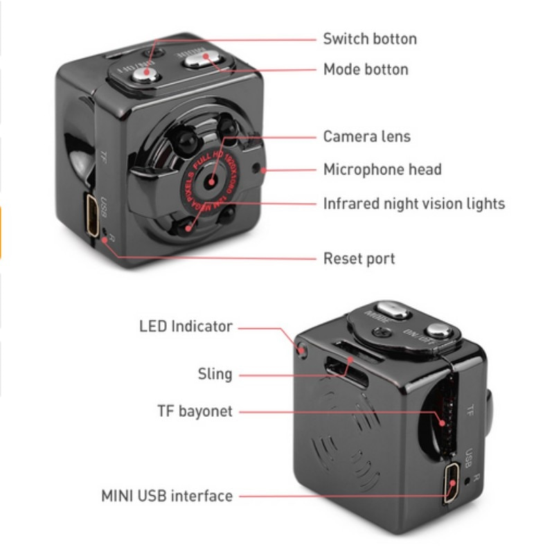 HD Camera Mini Camera 1080p SQ8 Micro Outdoor Camera Sport Video Night Vision Body DVR DV Tiny Motion Sensor Minicamera