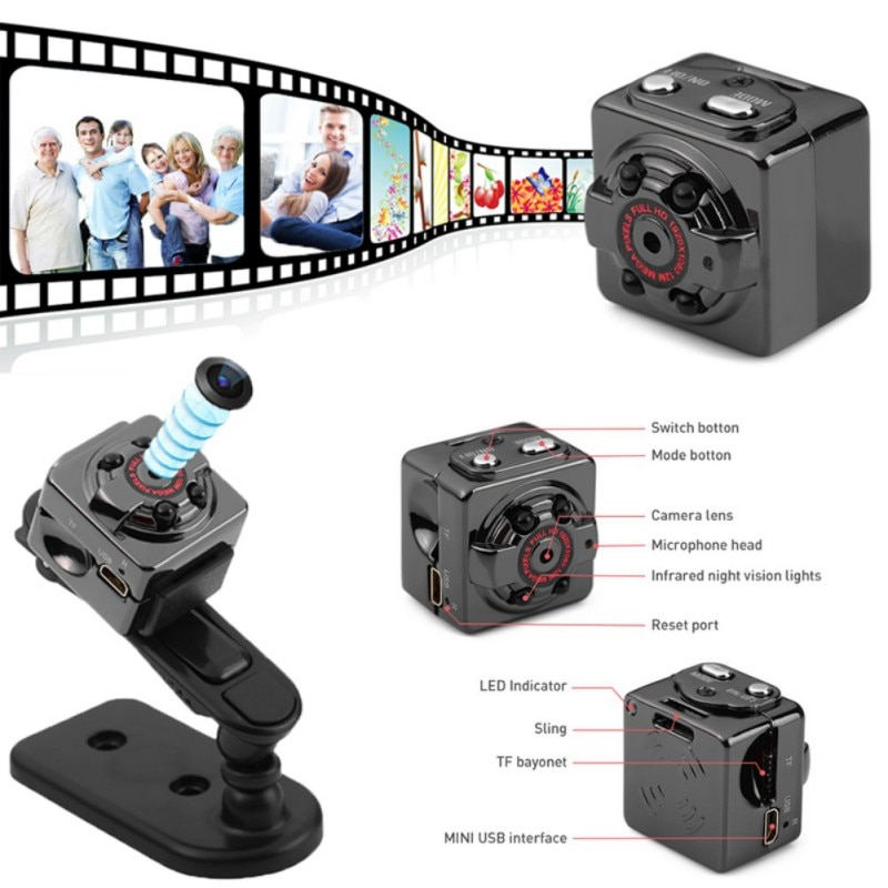 SQ8 Smart 1080P Full HD Small Cam Micro Mini Camera Video Camera Night Vision Wireless Body DVR DV Tiny Minicamera Microchamber