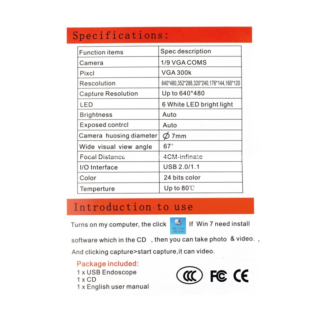 5M 6 LED USB Waterproof Endoscope Borescope Snake Inspection Video Camera 7mm Hot Worldwide