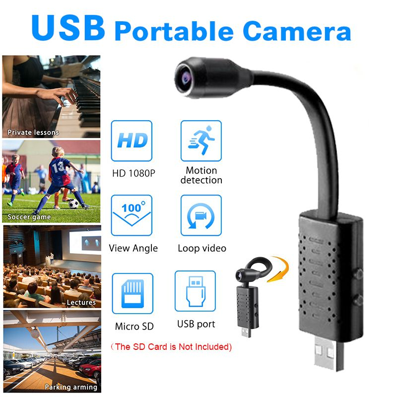1080P USB Wifi Camera Real-time Monitoring Camera 360 Degree Rotation Recording Loop Video U21 Mini Camera Support 64GB Card