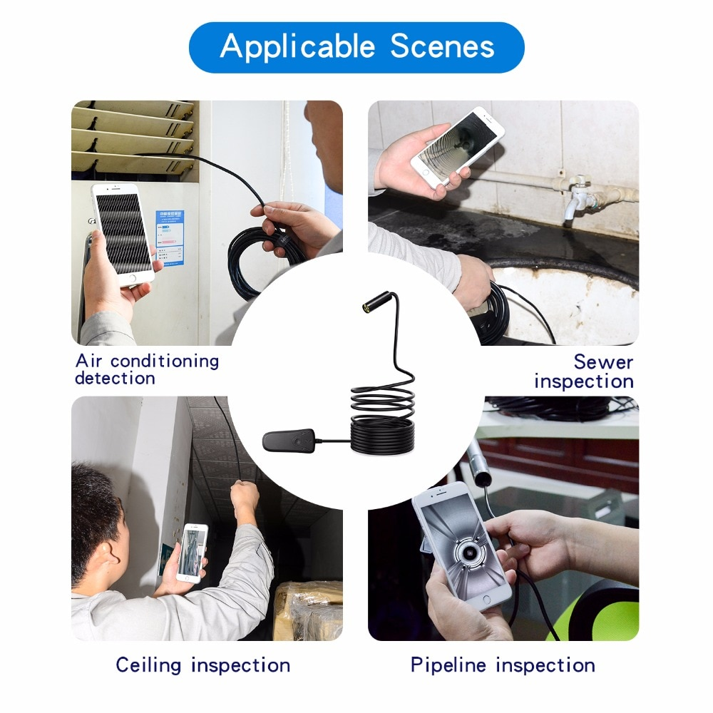 Antscope 5.0MP Auto Focus WIFI Endoscope Mini Camera 1944P HD IP68 Inspection Camera Waterproof for IOS/Android Borescope 24